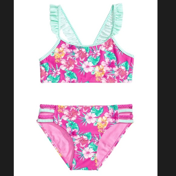 f102e61d09892 Girls 2-pc floral bikini swimsuit